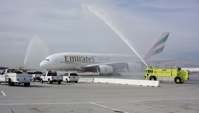 A_Water_Cannon_Salute_Welcomes_the_Emirates_A380_in_Los_Angeles