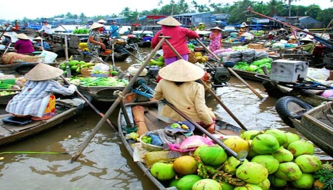 Croisiere_sur_le_Mekong-marche-flottant / Infotravel.fr