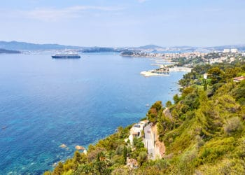 view of the port of Toulon, seyne sur mer and seaside of rade des vignettes from cap brun